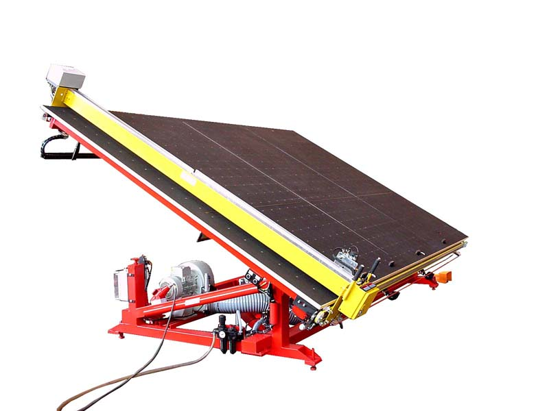 The air flotation tilting table 490P with 2 cross break-out bars and a longitudinal break-out bars as well as a cutting machine 115-5d.