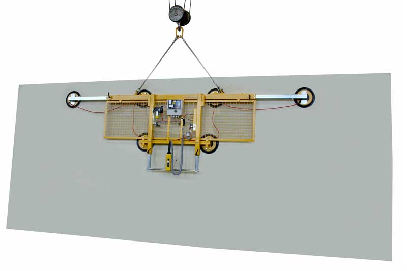 Kombi 7011-AB-2012 vacuum lifter with an extendable carrying bar (3-4 m) for a dead weight of 600kg. The vacuum lifting device is also equipped with a safety guard.