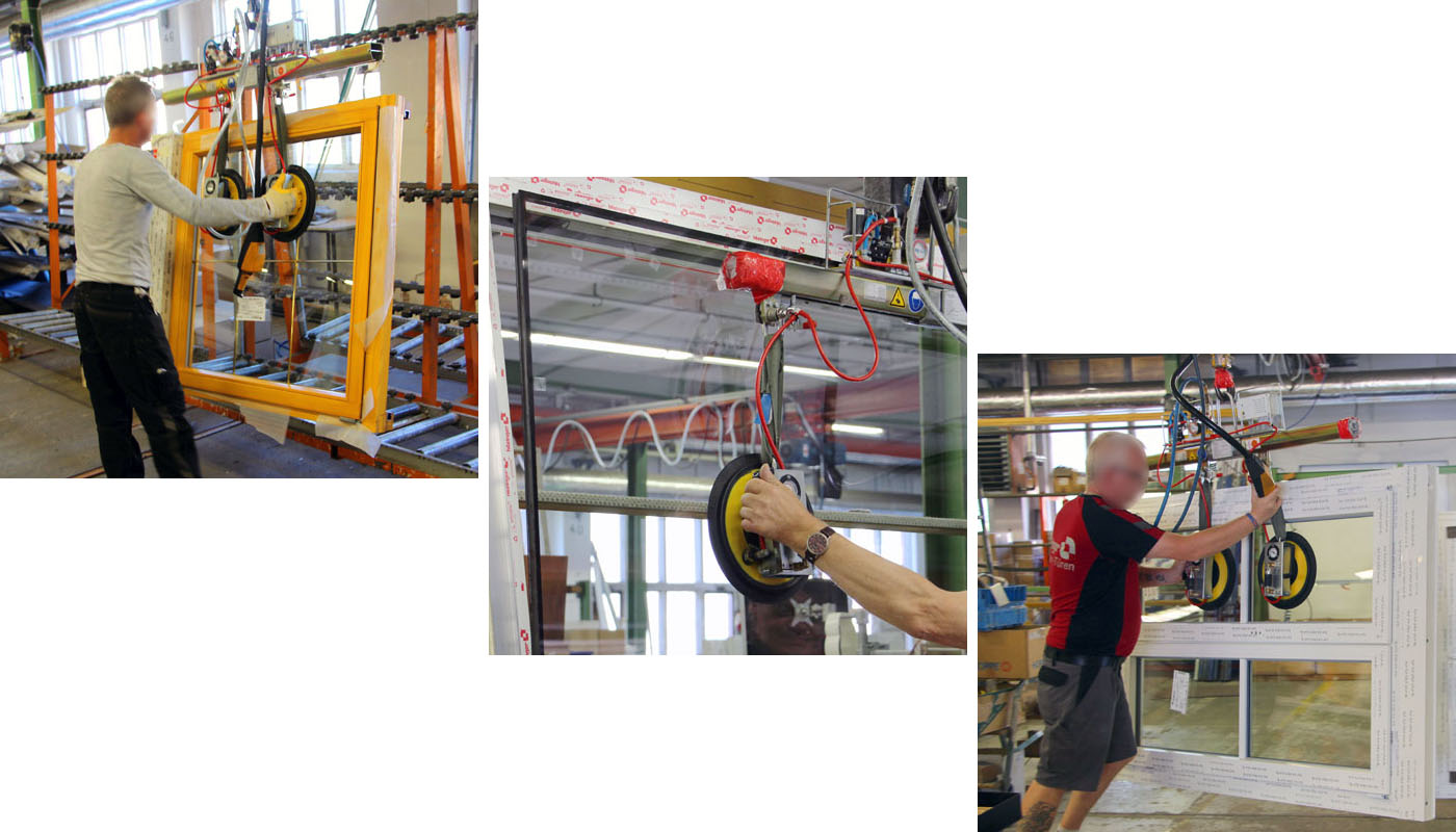 The 7005-BF-2013 vacuum lifter in operation in window production.