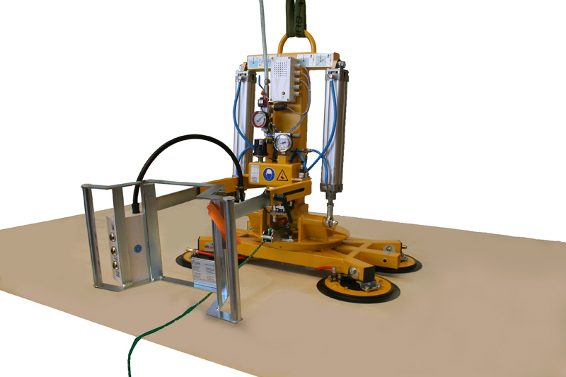 The 350 kg version of vacuum lifter 7025-MDmS4/E with four suction cups at the base device.